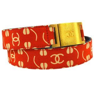 CHANEL CC Logos Buckle Belt Red Gold Canvas Vintag